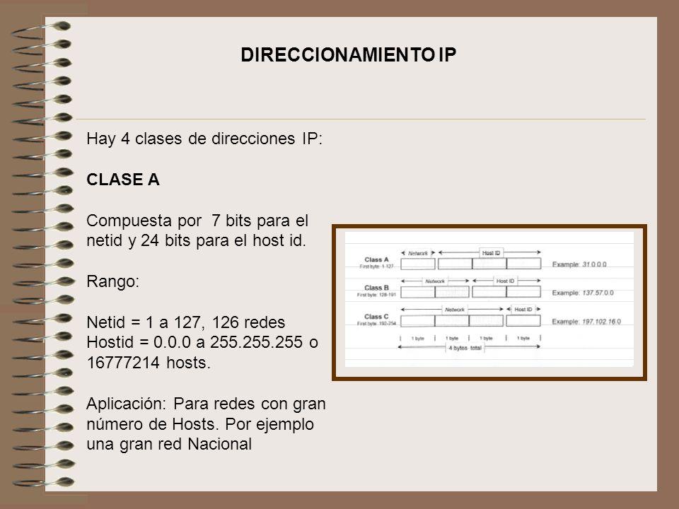 DIRECCIONAMIENTO IP Hay 4 clases de direcciones IP: CLASE A
