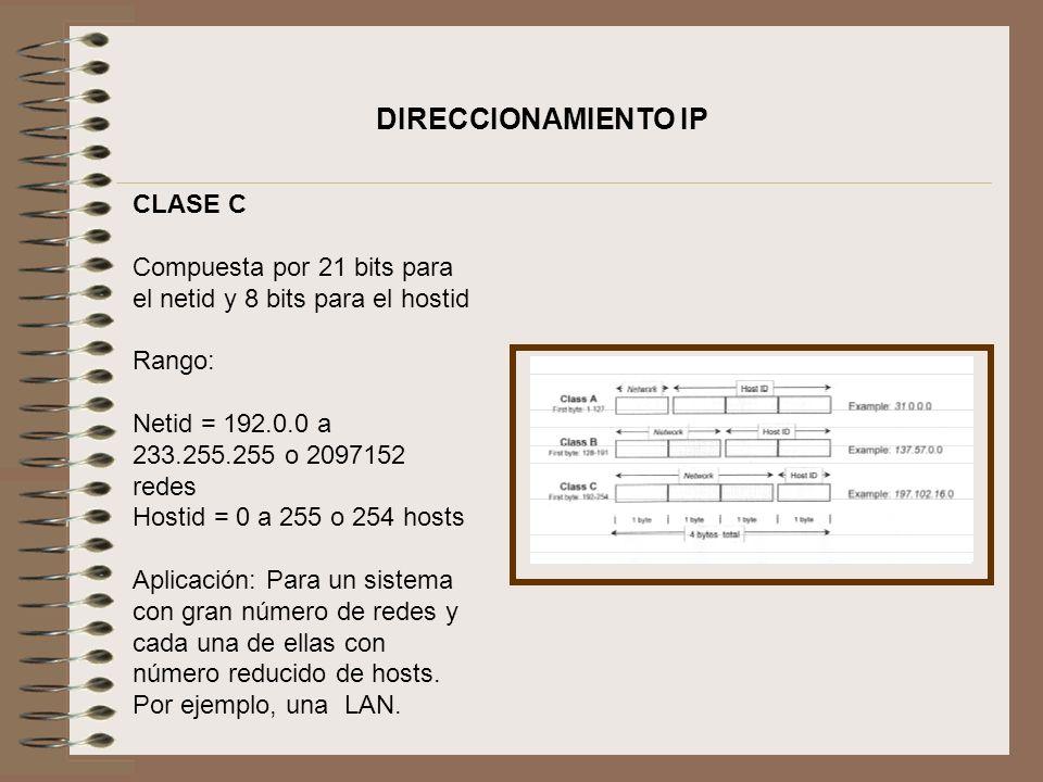 DIRECCIONAMIENTO IP CLASE C