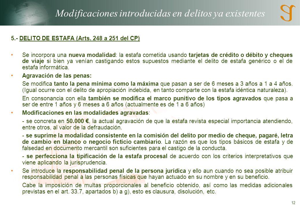 Modificaciones introducidas en delitos ya existentes