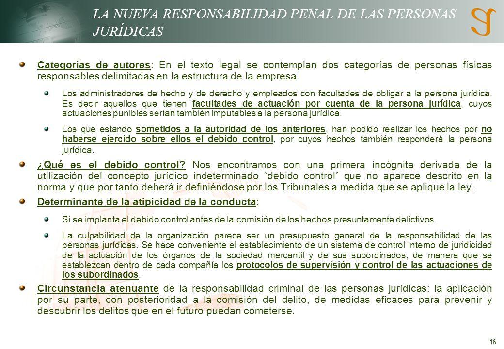 LA NUEVA RESPONSABILIDAD PENAL DE LAS PERSONAS JURÍDICAS