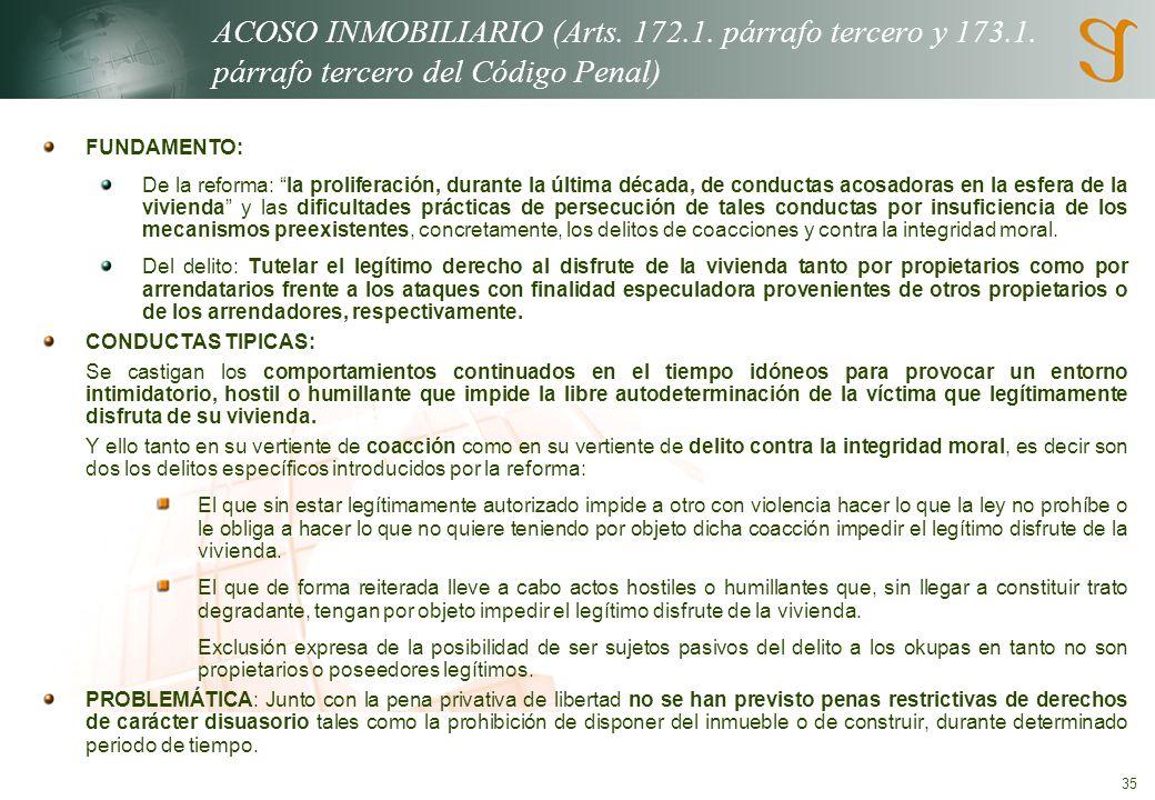 ACOSO INMOBILIARIO (Arts. 172. 1. párrafo tercero y 173. 1
