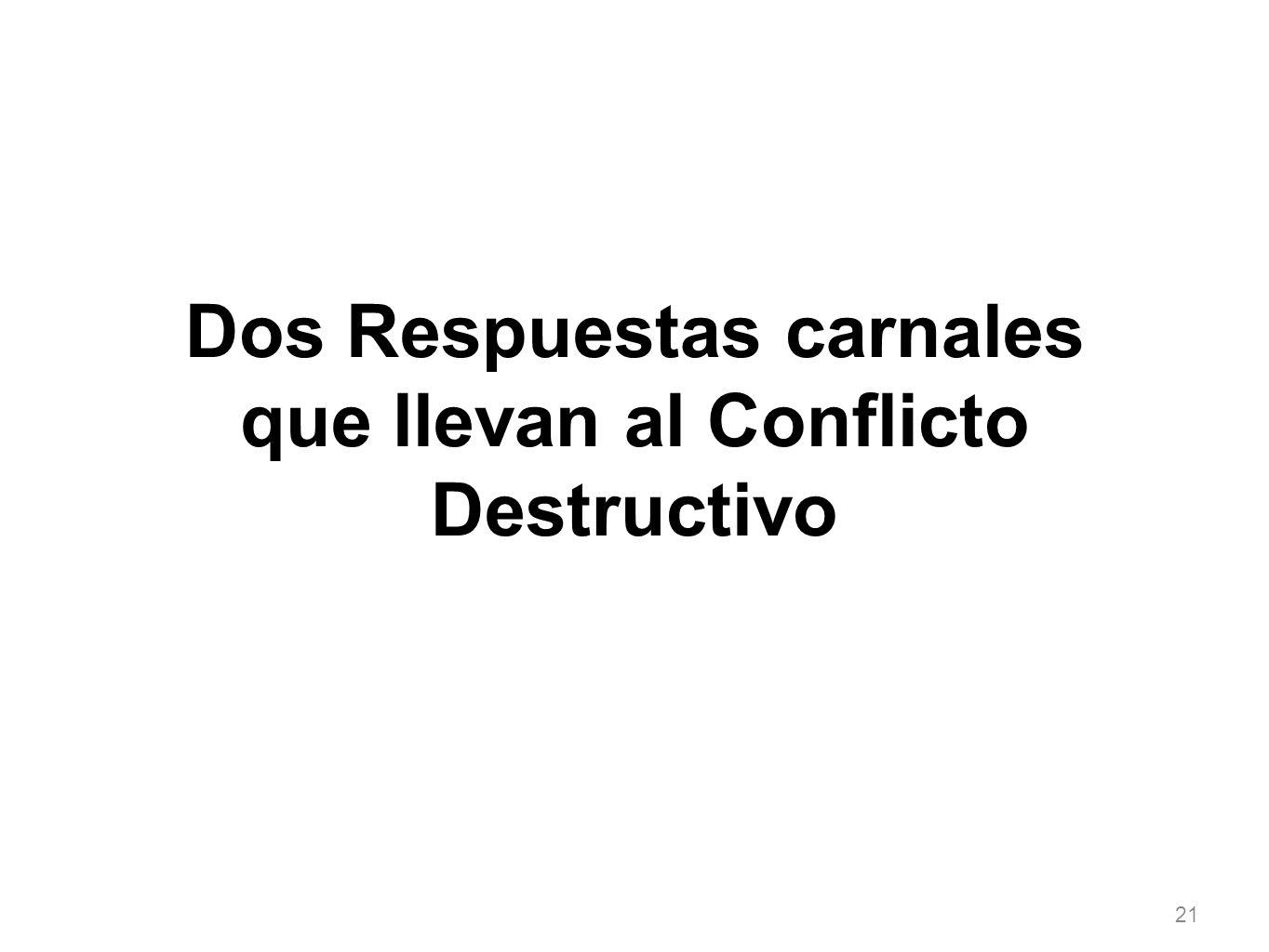 Dos Respuestas carnales que llevan al Conflicto Destructivo