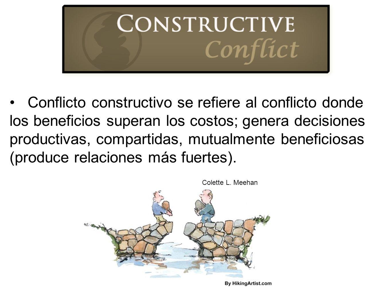 Conflicto constructivo se refiere al conflicto donde los beneficios superan los costos; genera decisiones productivas, compartidas, mutualmente beneficiosas (produce relaciones más fuertes).