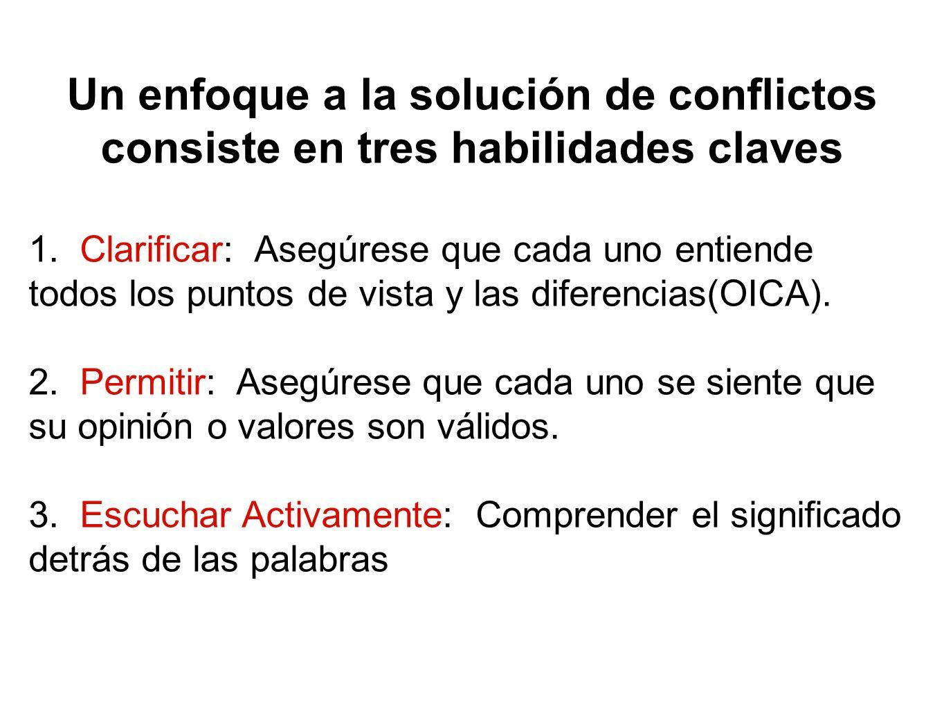 Un enfoque a la solución de conflictos consiste en tres habilidades claves