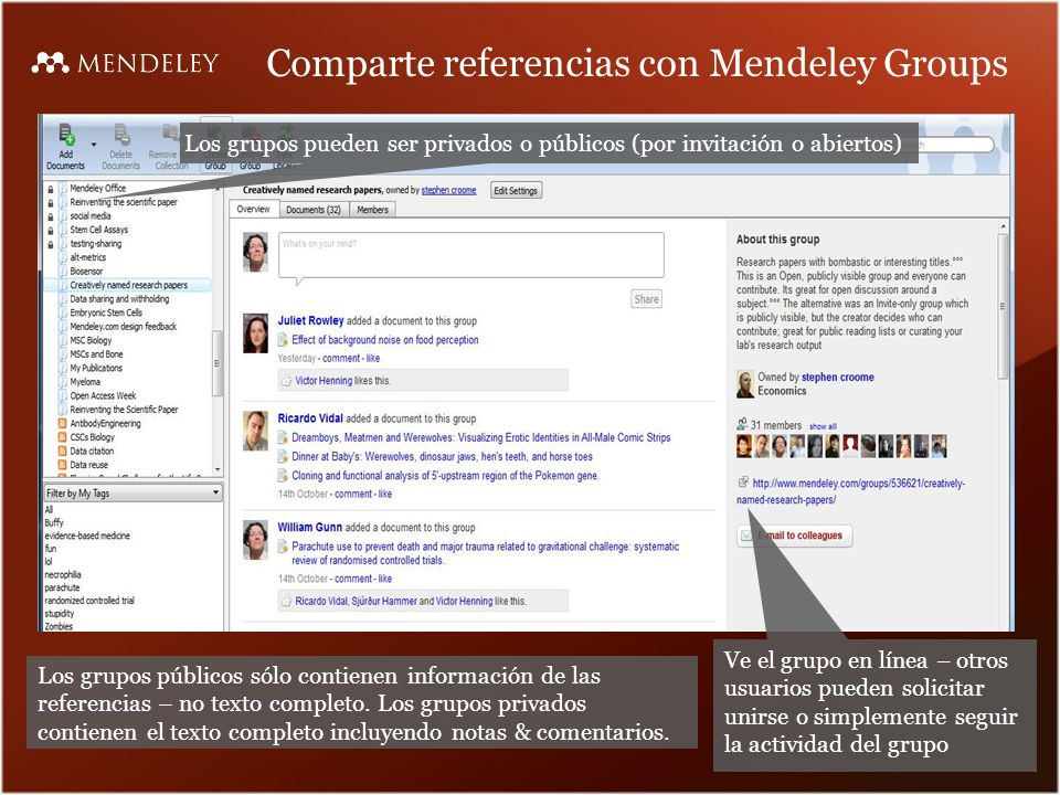 Comparte referencias con Mendeley Groups