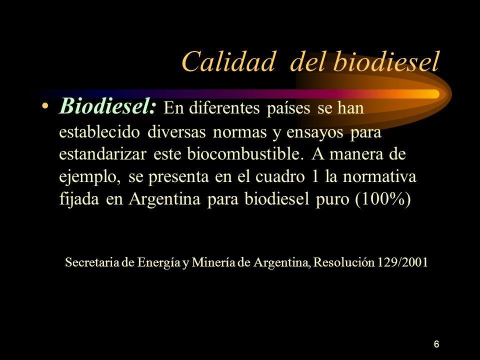 Calidad del biodiesel