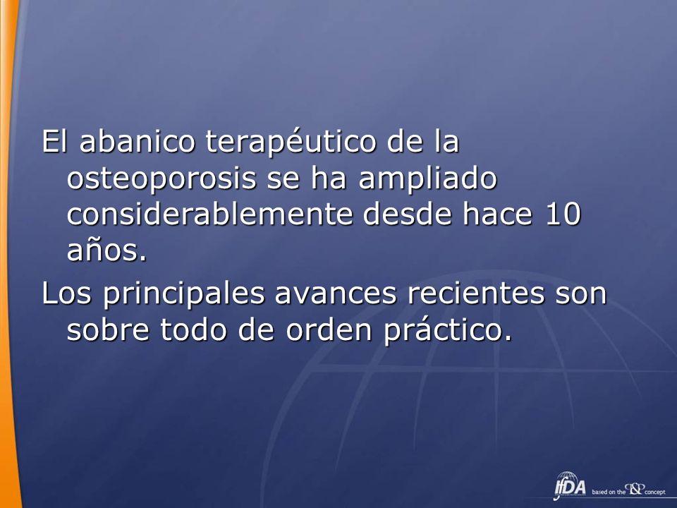 El abanico terapéutico de la osteoporosis se ha ampliado considerablemente desde hace 10 años.