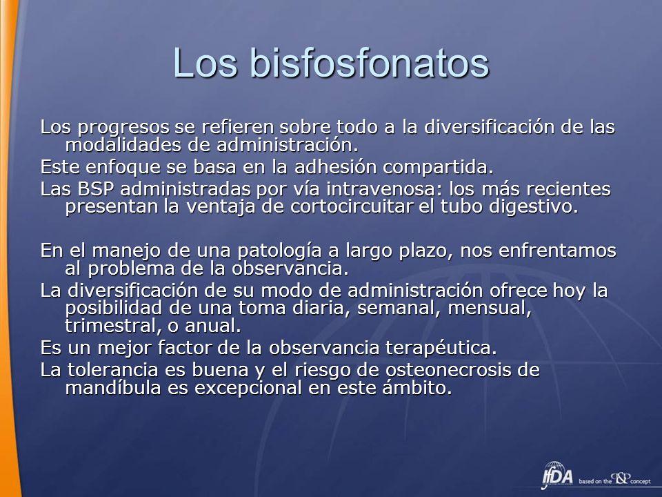 Los bisfosfonatosLos progresos se refieren sobre todo a la diversificación de las modalidades de administración.