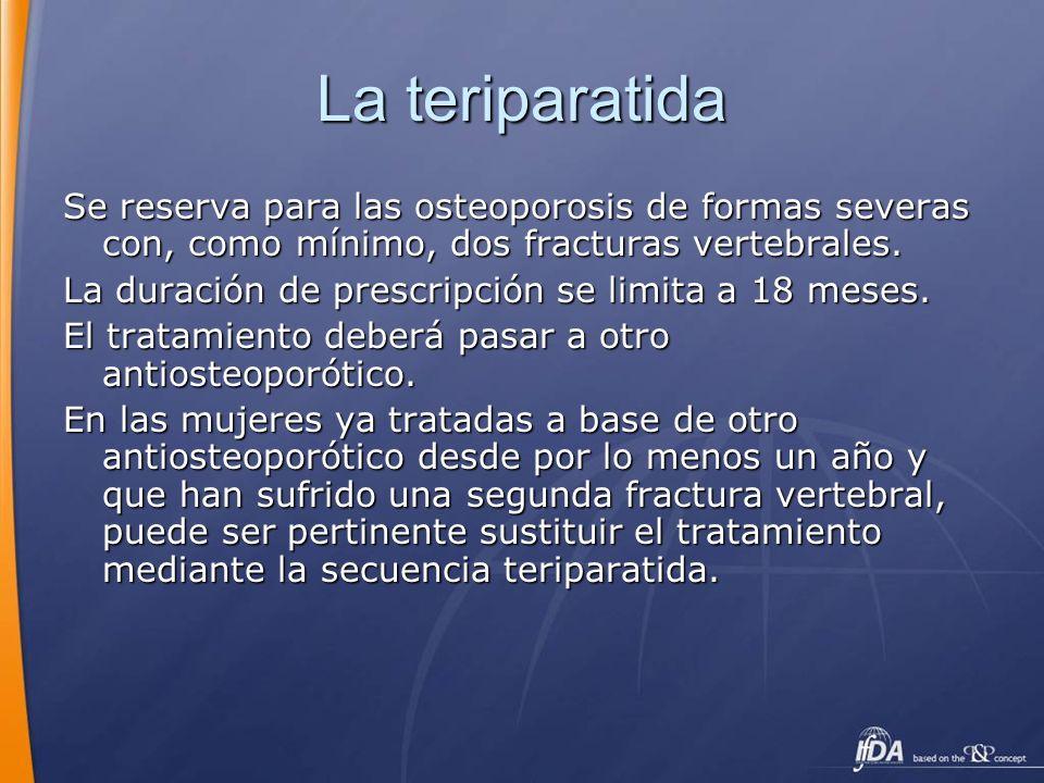 La teriparatida Se reserva para las osteoporosis de formas severas con, como mínimo, dos fracturas vertebrales.