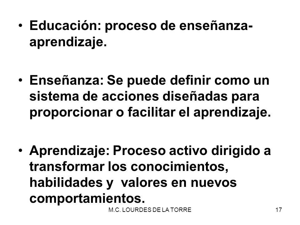 Educación: proceso de enseñanza- aprendizaje.