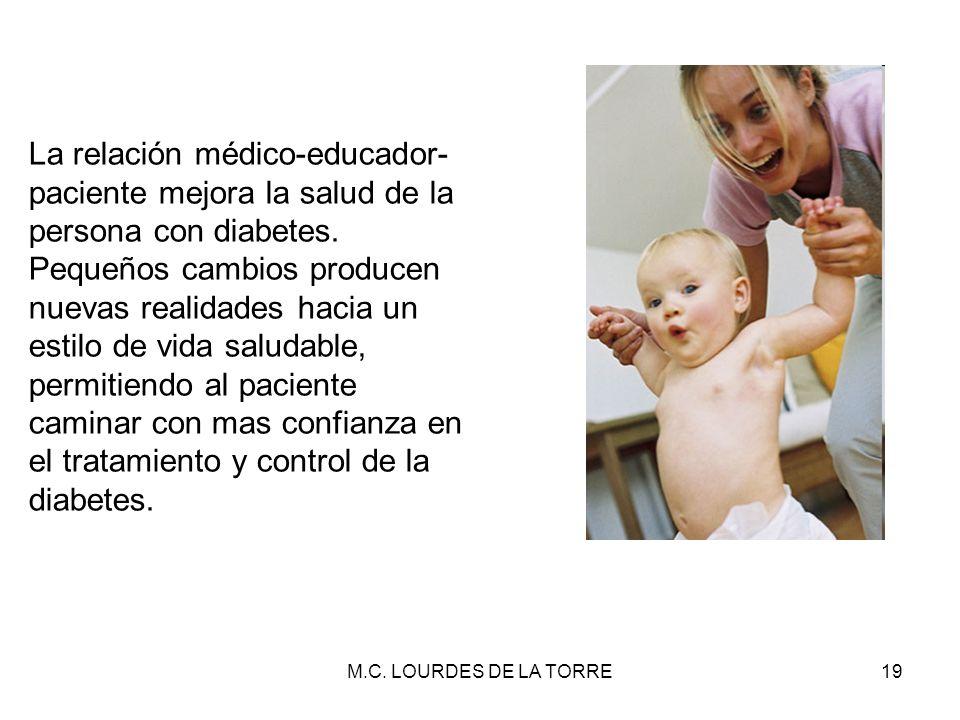 La relación médico-educador-paciente mejora la salud de la persona con diabetes.