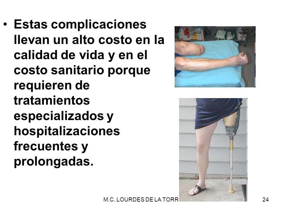 Estas complicaciones llevan un alto costo en la calidad de vida y en el costo sanitario porque requieren de tratamientos especializados y hospitalizaciones frecuentes y prolongadas.