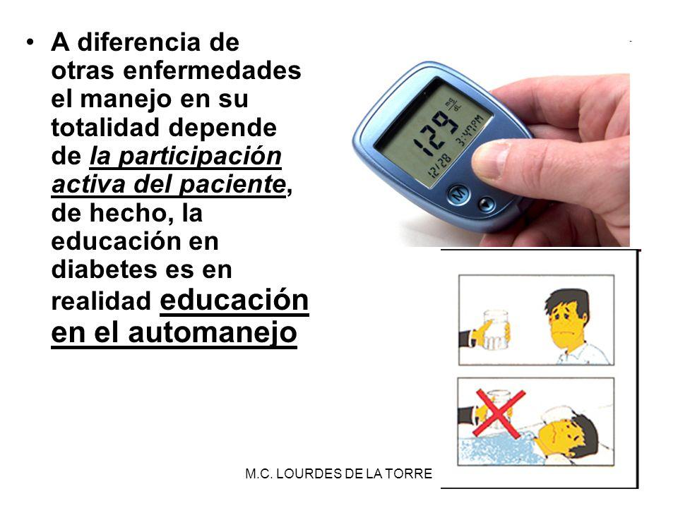 A diferencia de otras enfermedades el manejo en su totalidad depende de la participación activa del paciente, de hecho, la educación en diabetes es en realidad educación en el automanejo