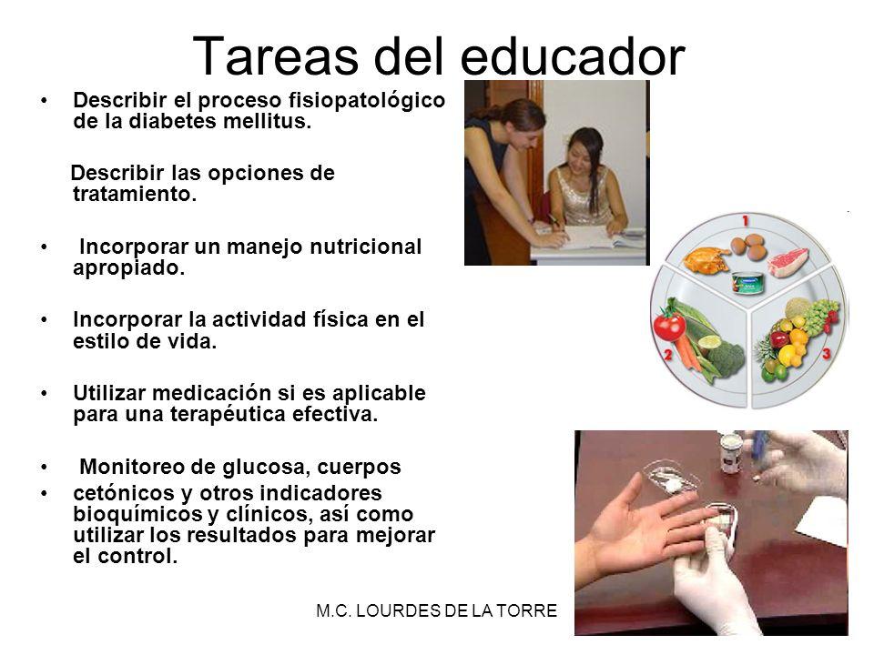 Tareas del educador Describir el proceso fisiopatológico de la diabetes mellitus. Describir las opciones de tratamiento.