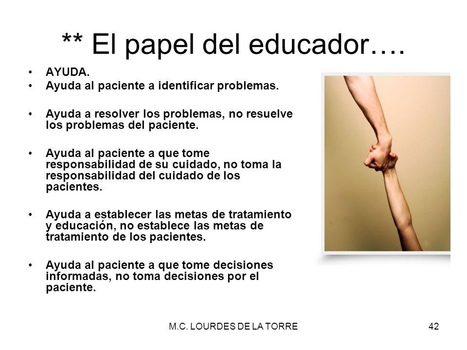 ** El papel del educador….