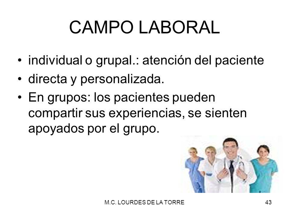 CAMPO LABORAL individual o grupal.: atención del paciente