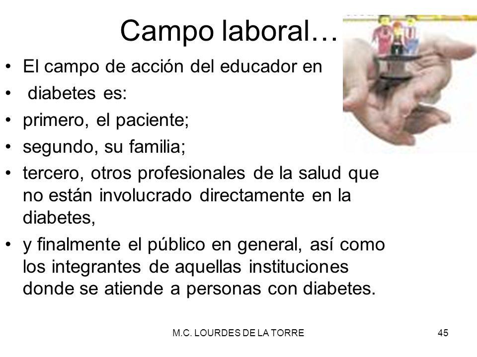 Campo laboral… El campo de acción del educador en diabetes es: