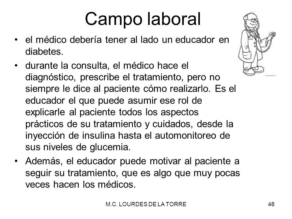 Campo laboral el médico debería tener al lado un educador en diabetes.