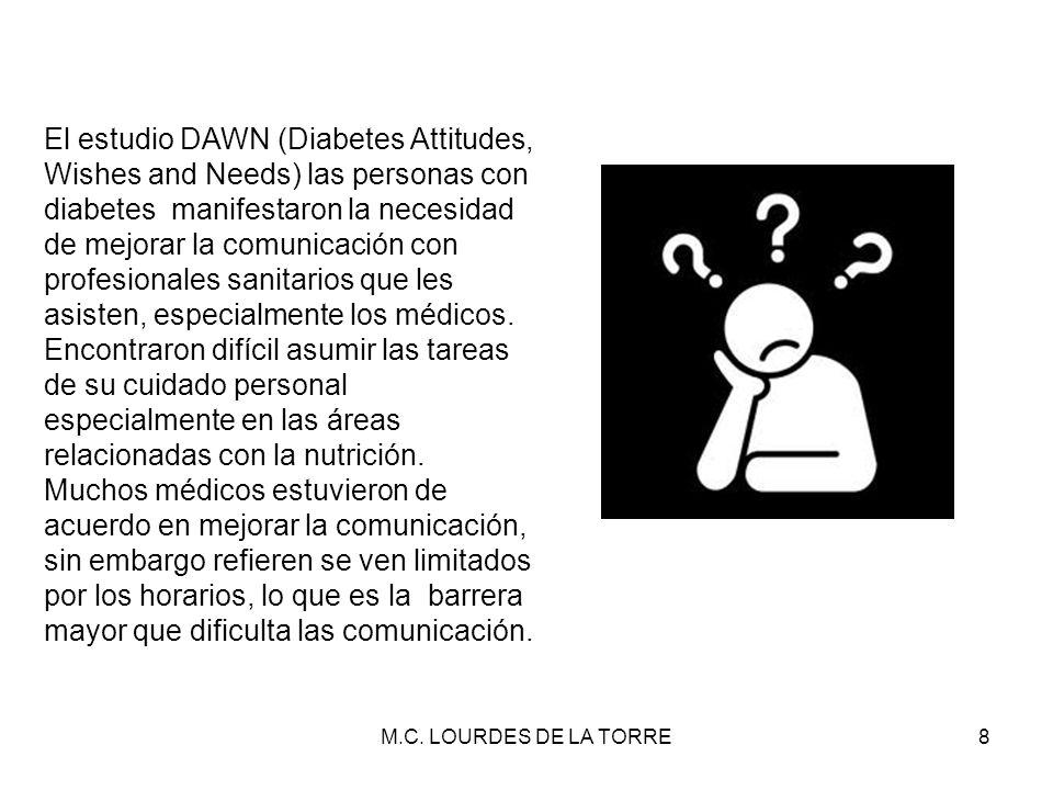 El estudio DAWN (Diabetes Attitudes, Wishes and Needs) las personas con diabetes manifestaron la necesidad de mejorar la comunicación con profesionales sanitarios que les asisten, especialmente los médicos.