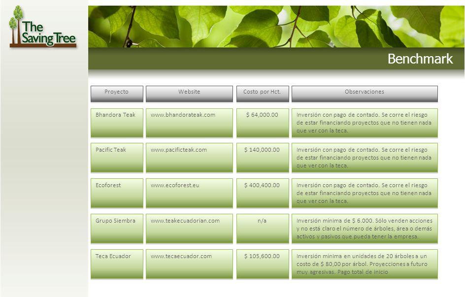 Benchmark Proyecto Website Costo por Hct. Observaciones Bhandora Teak