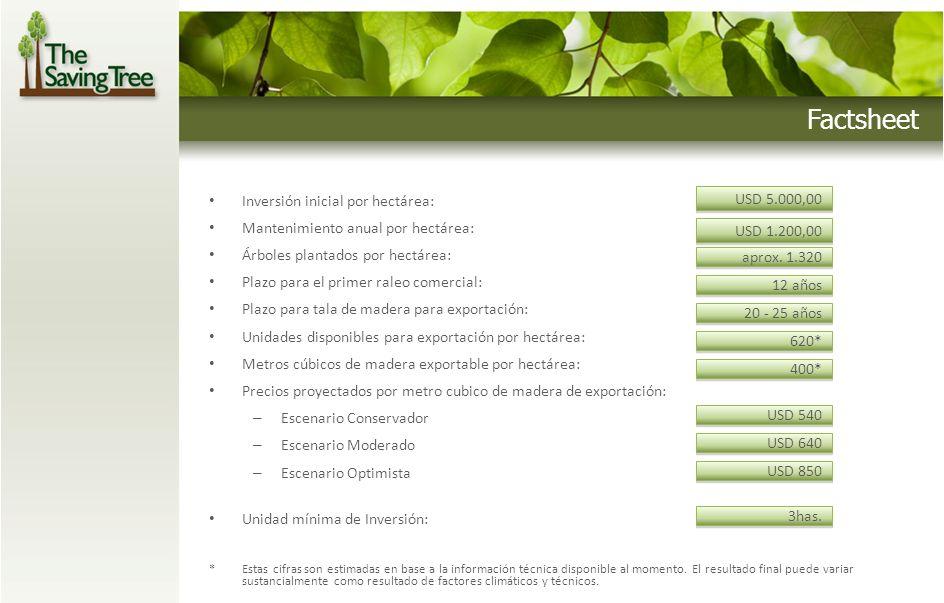 Factsheet USD 5.000,00 Inversión inicial por hectárea: