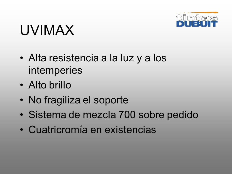 UVIMAX Alta resistencia a la luz y a los intemperies Alto brillo
