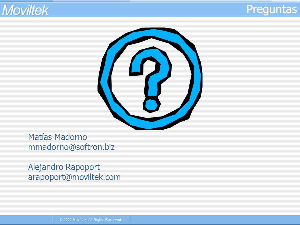 Preguntas Matías Madorno mmadorno@softron.biz Alejandro Rapoport
