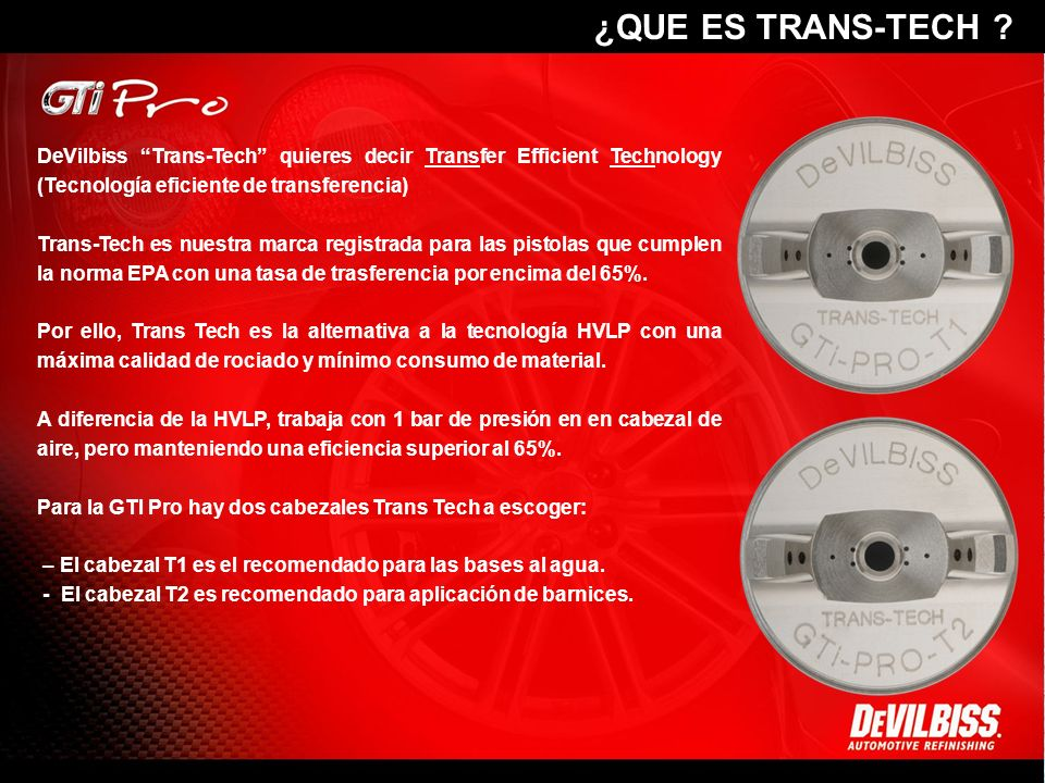 ¿QUE ES TRANS-TECH DeVilbiss Trans-Tech quieres decir Transfer Efficient Technology (Tecnología eficiente de transferencia)