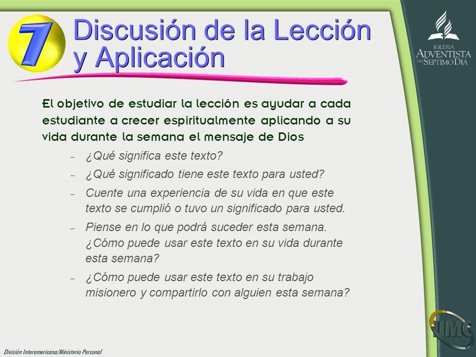 Discusión de la Lección y Aplicación