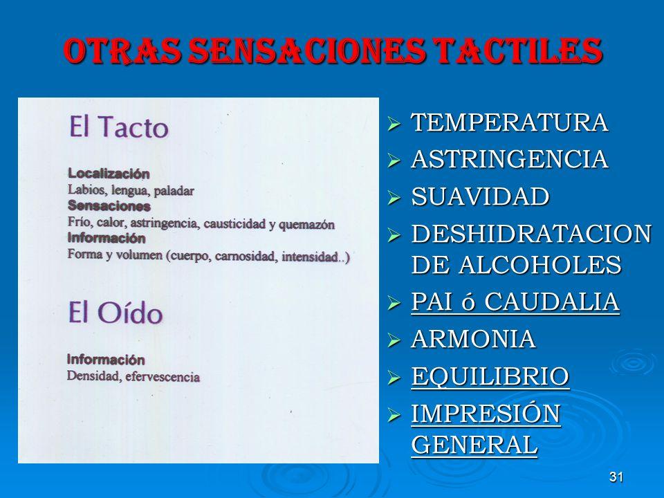OTRAS SENSACIONES TACTILES