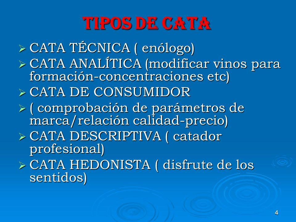 TIPOS DE CATA CATA TÉCNICA ( enólogo)