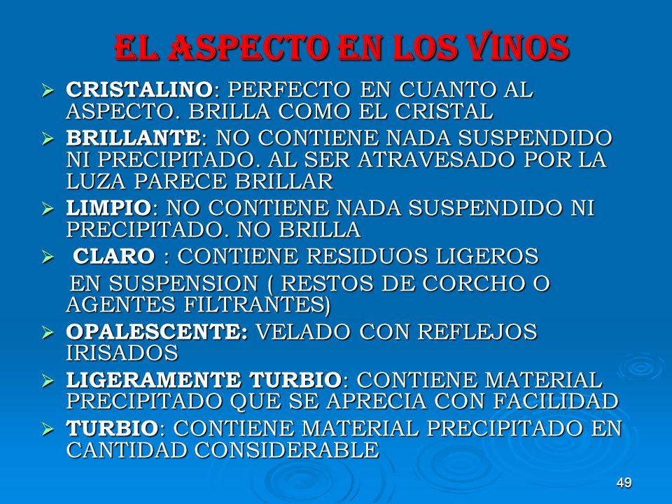 EL ASPECTO EN LOS VINOS CRISTALINO: PERFECTO EN CUANTO AL ASPECTO. BRILLA COMO EL CRISTAL.