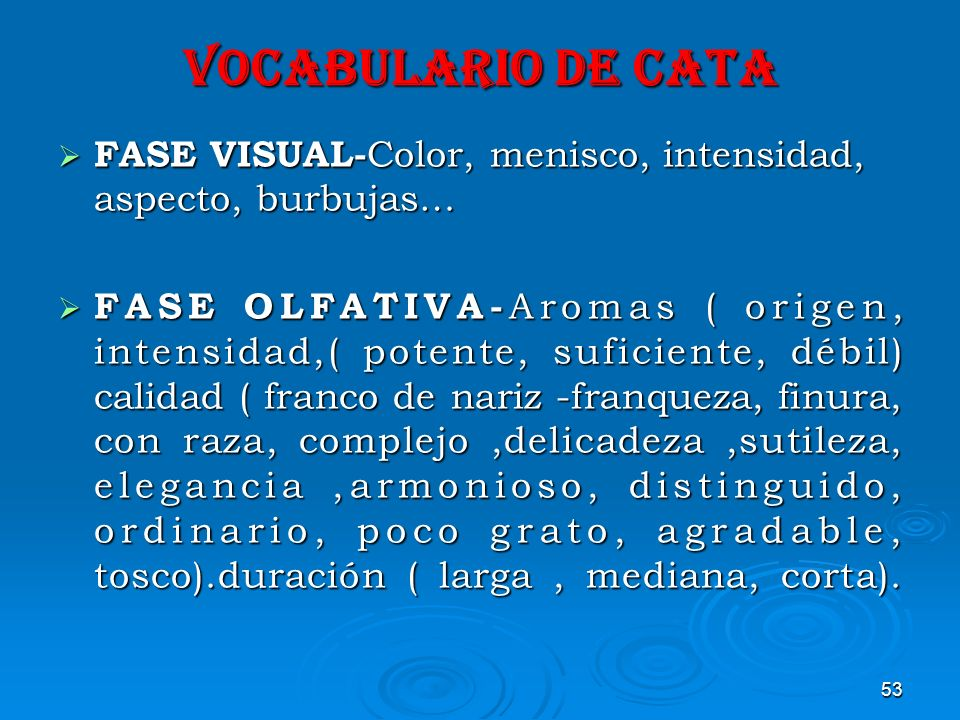 VOCABULARIO DE CATA FASE VISUAL-Color, menisco, intensidad, aspecto, burbujas…