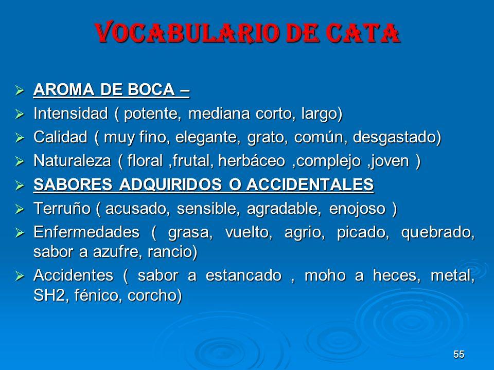 VOCABULARIO DE CATA AROMA DE BOCA –