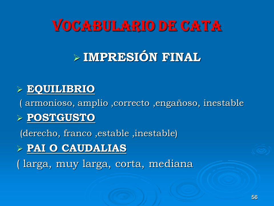 VOCABULARIO DE CATA IMPRESIÓN FINAL EQUILIBRIO POSTGUSTO