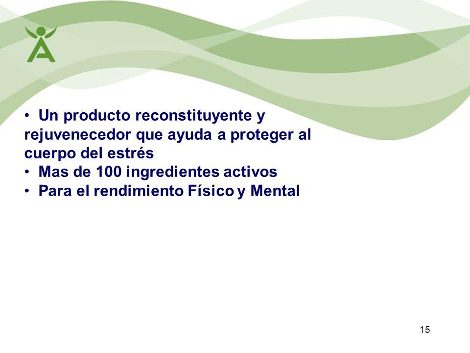 Un producto reconstituyente y rejuvenecedor que ayuda a proteger al cuerpo del estrés