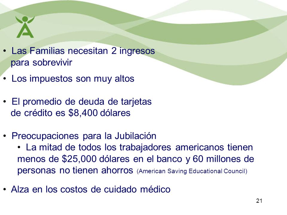 Las Familias necesitan 2 ingresos