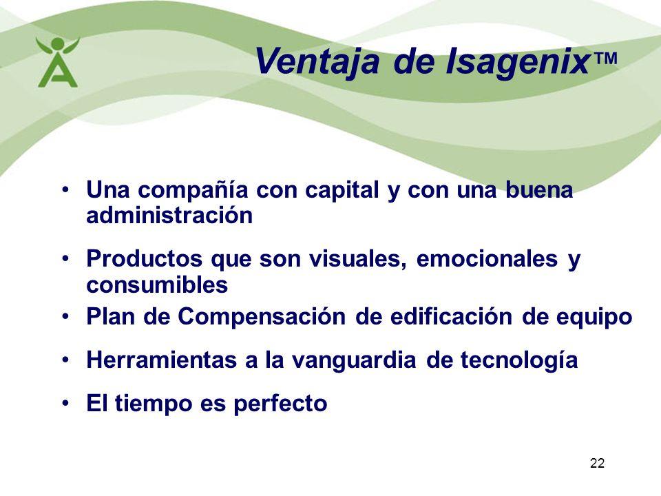 Ventaja de Isagenix™ Una compañía con capital y con una buena administración. Productos que son visuales, emocionales y consumibles.