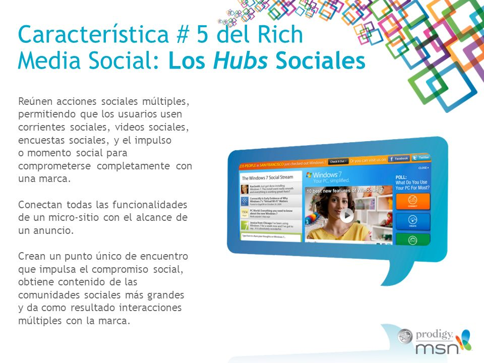 Característica # 5 del Rich Media Social: Los Hubs Sociales