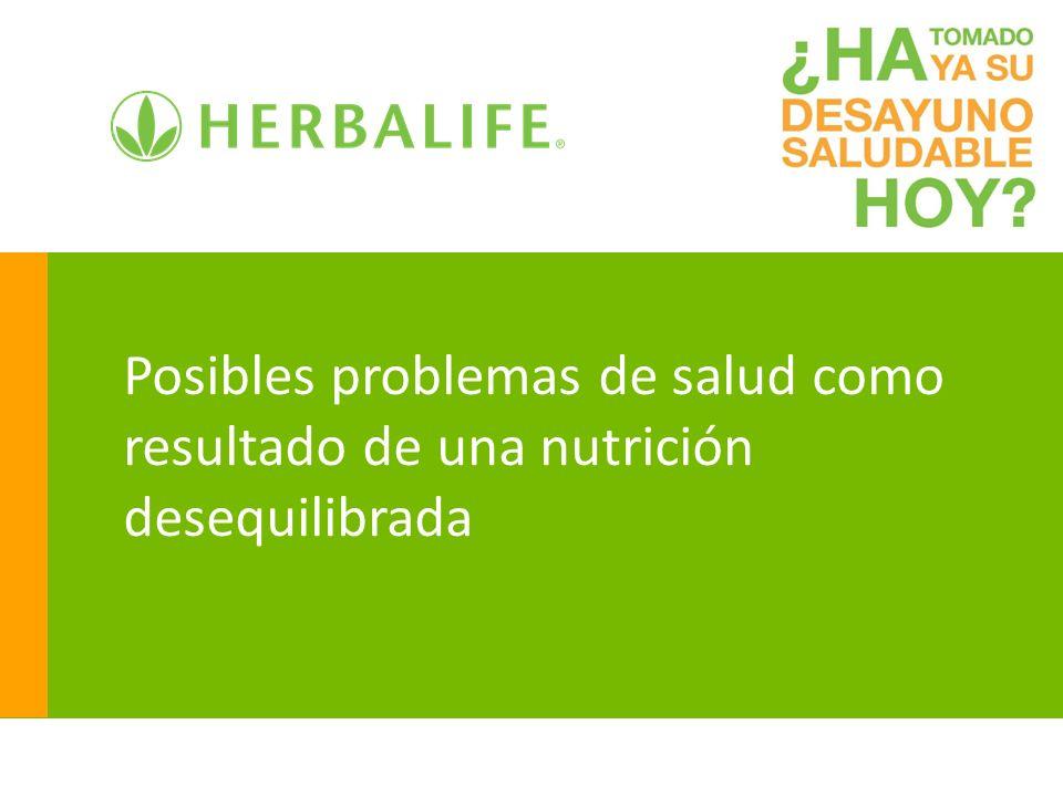 Posibles problemas de salud como resultado de una nutrición desequilibrada