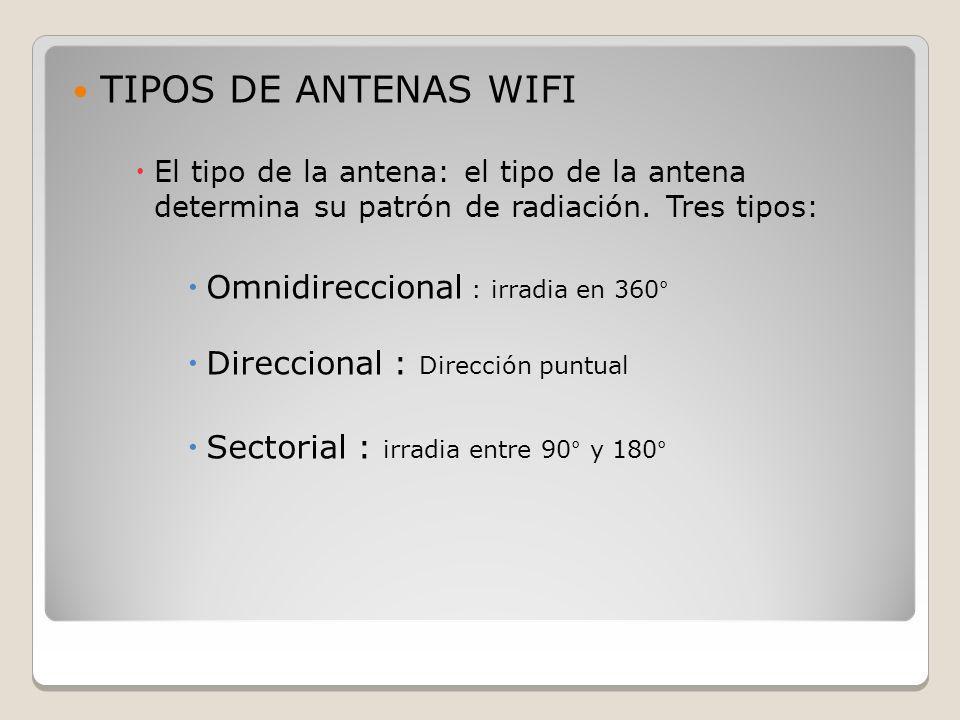 TIPOS DE ANTENAS WIFI Omnidireccional : irradia en 360°