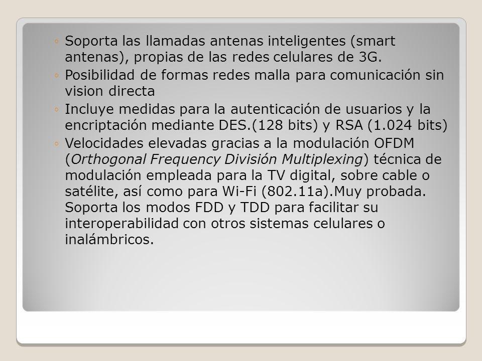 Soporta las llamadas antenas inteligentes (smart antenas), propias de las redes celulares de 3G.