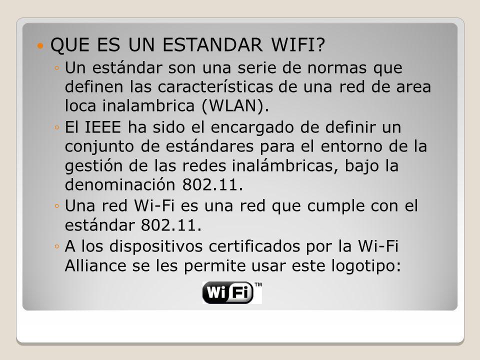 QUE ES UN ESTANDAR WIFI Un estándar son una serie de normas que definen las características de una red de area loca inalambrica (WLAN).