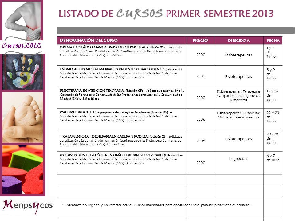 LISTADO DE CURSOS PRIMER SEMESTRE 2013