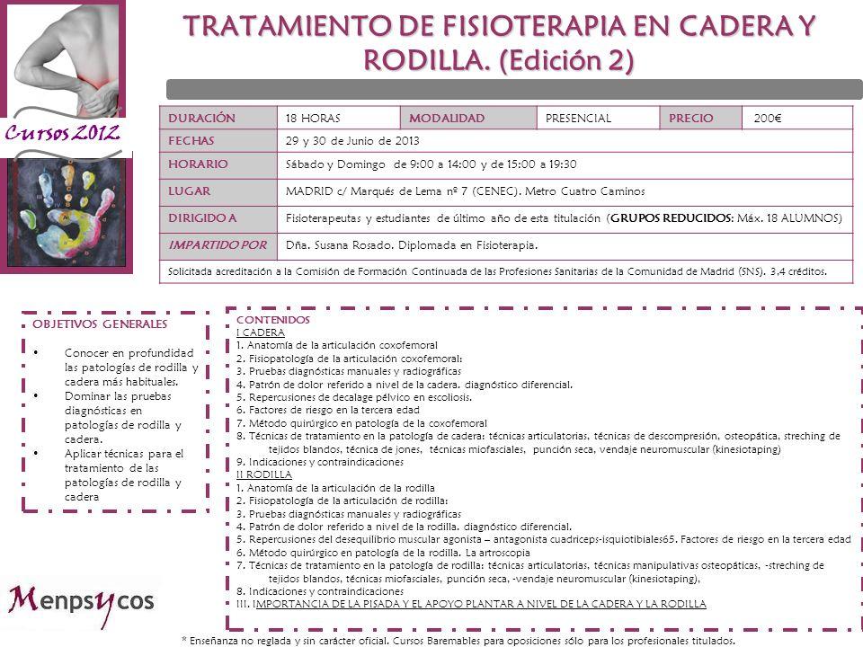 TRATAMIENTO DE FISIOTERAPIA EN CADERA Y RODILLA. (Edición 2)