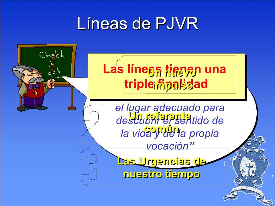 Líneas de PJVR Las líneas tienen una triple finalidad Un nuevo Premisa