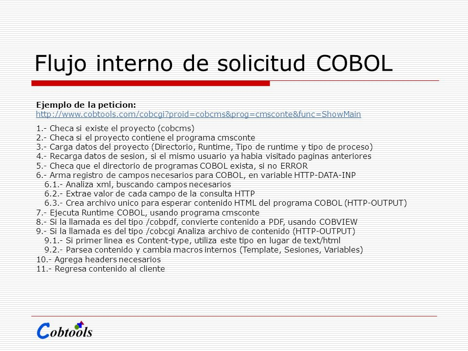 Flujo interno de solicitud COBOL