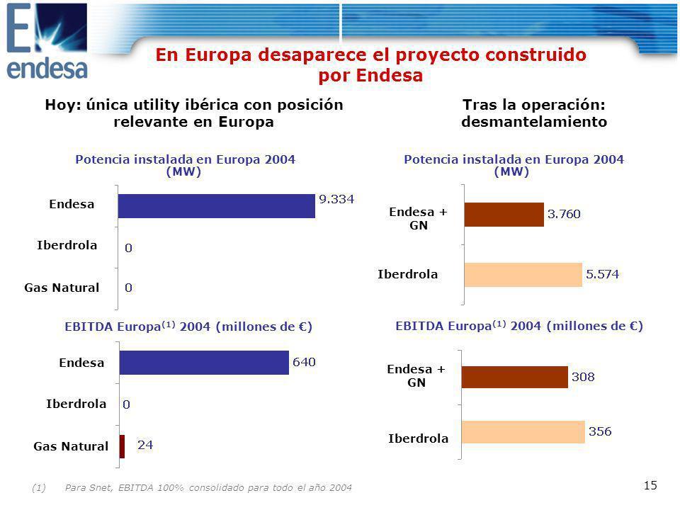 En Europa desaparece el proyecto construido por Endesa