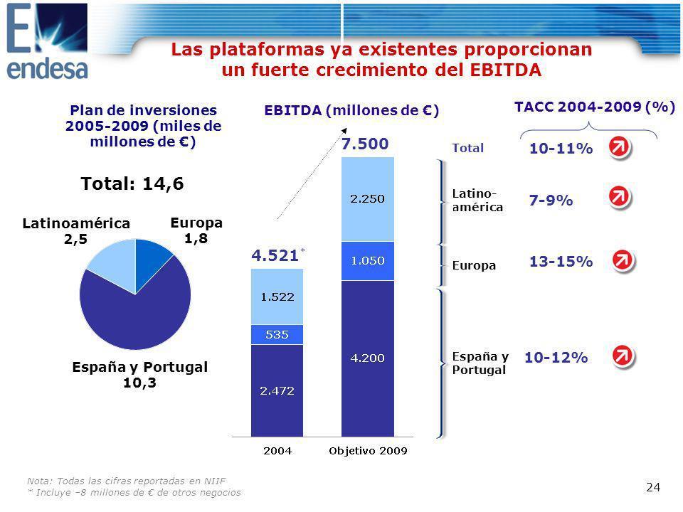 Plan de inversiones 2005-2009 (miles de millones de €)