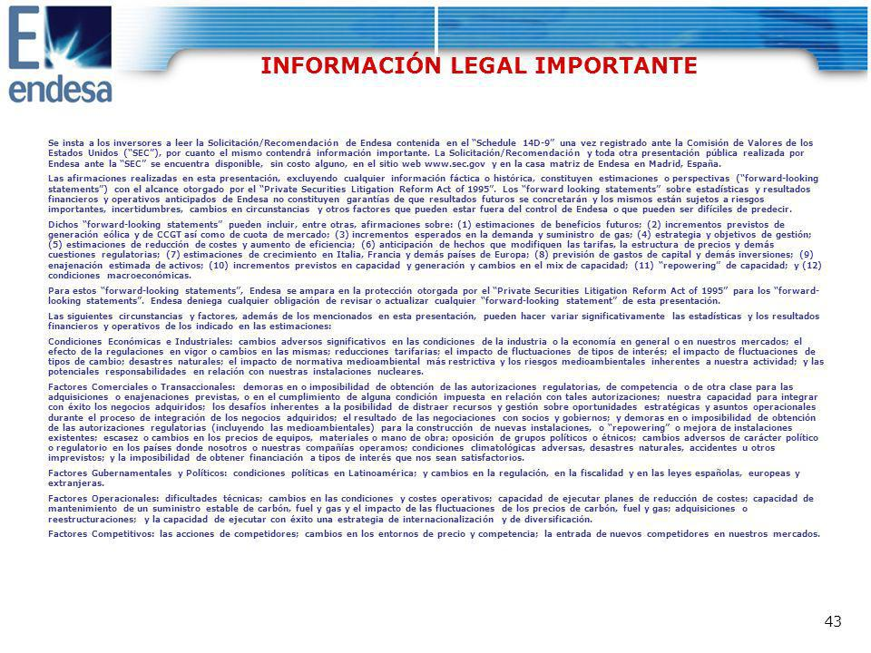 INFORMACIÓN LEGAL IMPORTANTE
